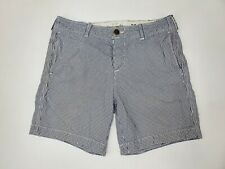 Abercrombie & Fitch Shorts White Blue Navy Check Khaki Cotton Size 32 Distressed