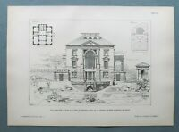 AR93) Archit. Bergamo Ponte di St Pietro 1893 Villa Legler Hefti Holzstich 28x39