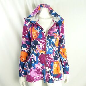 Isaac Mizrahi Live! Women's Small Floral Printed Zip Front Peplum Hoodie Lilac