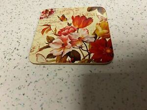Laminated Floral Coasters Square Cork Backed Table Cup Dining Mat Hobby Craft