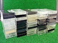 Lot of 50 Empty Hard Plastic Vintage Audio Cassette Cases Black & Clear Mix