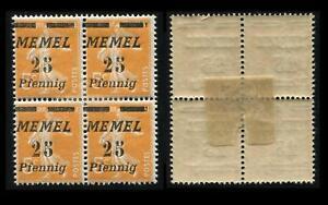 Memel 56 PF IV VB, Viererblock mit 2 x Plattenfehler IV ungebrauchtt #e502