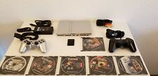 Sony PlayStation 2 PS2 Silver Slim Console Complete w/Controllers memory+games.