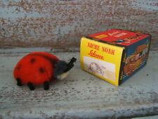 "Vintage 1950s Schuco 7348 Miniature 3"" Long Noahs Ark Mohair Ladybug with Box"