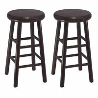 Set Of 2 Modern Counter Swivel Stools Beveled Seat Dining Breakfast Nook Chair