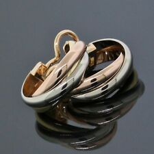 Cartier 18K Rose Yellow White Tri-Color Gold Trinity Hoop 20MM Clip Earrings