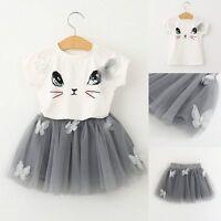 2PCS Kids Baby Girl Cartoon Cat T-shirt Tops+Tutu Dress Skirt Outfit Clothes Set