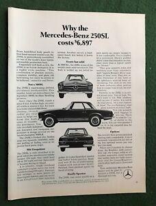 vintage 1960s magazine Ad MERCEDES-BENZ 250SL auto car garage mancave