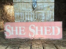"""Large Rustic Wood Sign - """"She Shed"""" Distressed Fixer Upper Woman cave"""