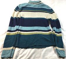 Faded Glory pullover turtleneck sweater, blue, teal, black, size Medium (8/10)