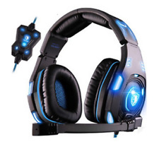 SADES Knight Pro Gaming Headset PC MAC LINUX 7.1 Surround Sound LED Lights NEW