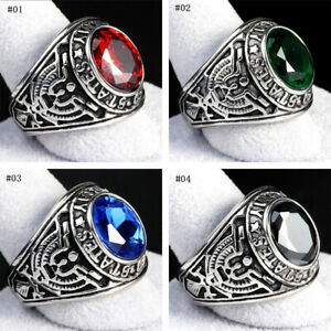 Men Stainless Steel 316 Siam United States Army Military Finger Ring Band C2UK