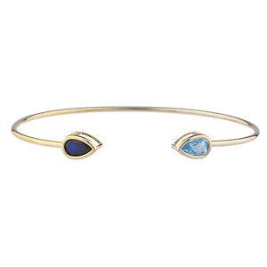 14Kt Yellow Gold Plated Blue Sapphire & Blue Topaz Pear Bezel Bangle Bracelet