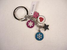 NWT COACH WINTER SNOWFLAKE MULTI MIX KEY RING KEY CHAIN FOB F62725