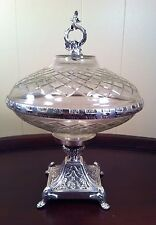 Decorative Covered Compote Cut Glass Lacquered Silver