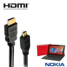 Nokia Lumia 2520 Tablet HDMI-D Micro to HDMI TV Monitor 5m Long Gold Cord Cable