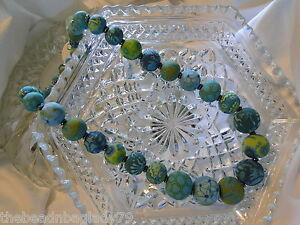 NEW JILZARA Handmade Clay Beads EMERALD GREEN KEEPSAKE Necklace Stainless Steel