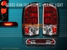 02 03 04 05 DODGE RAM RED LED TAIL LIGHTS + LED RED 3RD BRAKE LIGHT COMBO