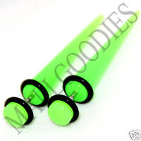 0372 Fake Cheaters Faux Illusion Ear Stretchers Tapers Plugs 2G Neon Lime Green
