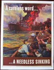 PRICE CUT 40! A CARELESS WORD. A NEEDLESS SINKING 1942 WWII PAPERBACKED POSTER!!