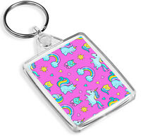 Pink Girly Keyring Unicorn Rainbow Cat Kitten Cute Girls Kids Gift Keyring #8459