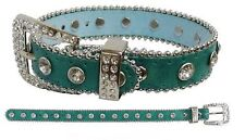TEAL Sparkling Rhinestone Bling Small Breed DOG Size COLLAR Loaded with Crystals
