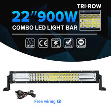 """TRI-ROW 22inch 900W CREE LED Work Light Bar Combo Offroad SUV Jeep Ford 4WD 22"""""""