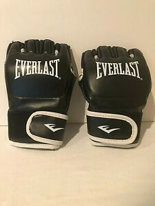 Everlast MMA Grappling Gloves Open Fingers Martial Arts Boxing Wrestling Black