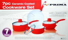 7pc Ceramic Non Stick Cookware Set Saucepan Pot Glass Lid Fry Frying Pan RED