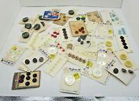 Carded Buttons Large Lot Vintage Bakelite & Plastic  Streamline La Moderne Etc