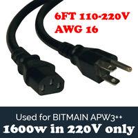 BITMAIN APW3++ PSU Power Supply Cord for Antminer MEDIUM AWG16 BTC L3+ D3 S9 6FT