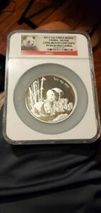 2013 5oz Silver China Medal Panda NGC PF69 Ultra Cameo Long Beach Coin Expo