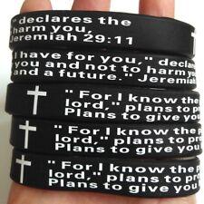 100pcs Jeremiah 29:11 Cross Bibie Prayer Silicone Bracelets Religious Wristbands