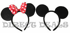2 pcs Minnie Mickey Mouse Ears Headbands Black Red Polka Dot Bow Party Favors