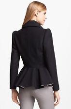 TED BAKER Sollel black wool peplum jacket dress coat full skirt fit & flare 3 12