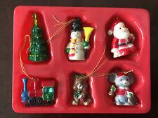 Vintage Christmas Miniature Acrylic Ornaments Jsny Set of 6 New