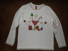 NWT Womens Ladies M 8-10 Christmas Holiday Party Festive Fun Drink Sweater top