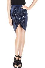 NWOT ALEXANDER WANG Sequined Navy Blue wrap-front skirt Women Size 10 $595