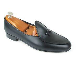 Mint Belgian Shoes Henri Black Calf Handmade Loafers Slippers 10.5 N