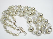 """Vintage AB Crystal Glass & Faux Pearl Bead Double Strand Japan Necklace 25"""""""