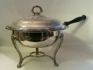 Vintage WM Rogers & Son Silver Plate Chafing Dish Victorian Rose Four Pieces