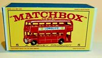 Matchbox Lesney No 5 London Bus Empty Repro Box style D
