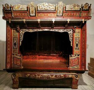 China 19. Jh. Antikes Chinesisches Holz Opium Bett / Himmelbett Qing Chinese Bed