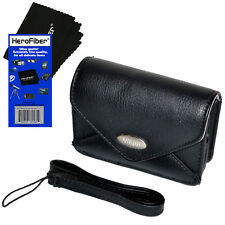 Nikon Leather Like Camera Case with Strap + HeroFiber for Coolpix S3600 & S3700