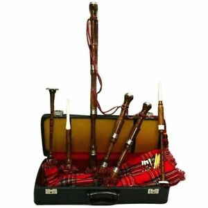 Scottish Bagpipe Full Set  Silver Mounts/Great Highland Bagpipe with Tutor Book