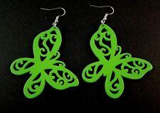 Lightweight Wood Laser Cut Butterfly Dangle Fashion Earrings - Green # B204