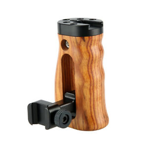 NICEYRIG Camera Nato Wooden Grip DSLR Handle for Camera Cage Rig NATO Rail Clamp