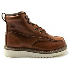 New Mens Wolverine Tan Work Wedge Leather Boots Lace Up