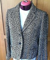 J.Crew Jacket Women's Size 14 Lined Blazer Double Breasted Notched Black White