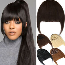 One Piece Side Bangs Clip On Neat Bang Fringe Clip in Remy Human Hair Hairpiece